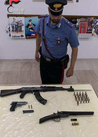 PUTIGNANO (BA): Deteneva illegalmente armi. Arrestato censurato del luogo.